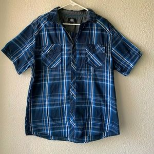 Rock & Republic Men's Button Up Shirt Blue/White